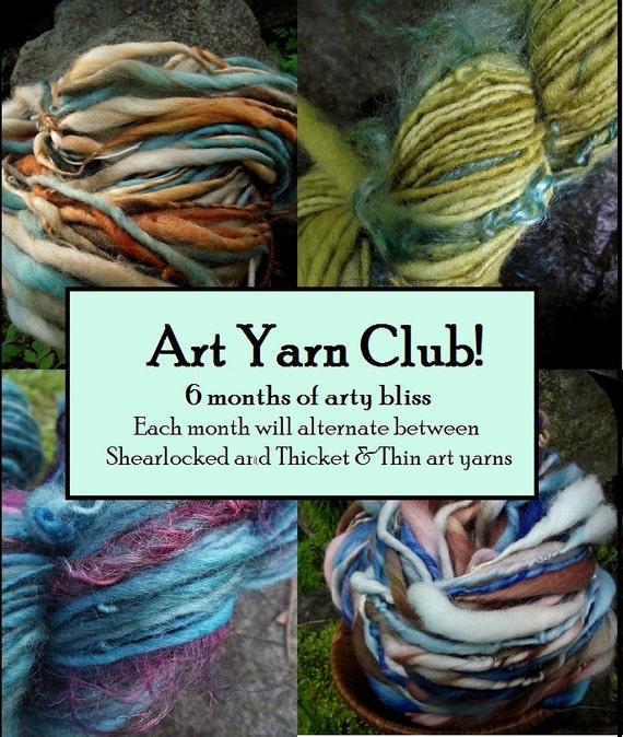 Yarn club knitting gift Art Yarn Club-6 month membership handspun art yarn, includes shipping