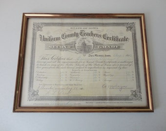 VINTAGE framed 1912 IOWA teacher's CERTIFICATE - antique ephemera