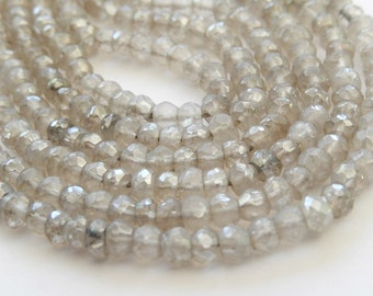"Silver Gray Quartz Gemstones, Faceted rondelles, 4.3mm. Semi Precious Gemstones. 3"" Strand (mqsg). Last Ones"