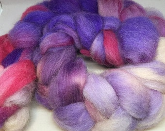 Violet Backed Starling - 4oz - 114g - Carded Alpaca-Montadale 40-60 Roving