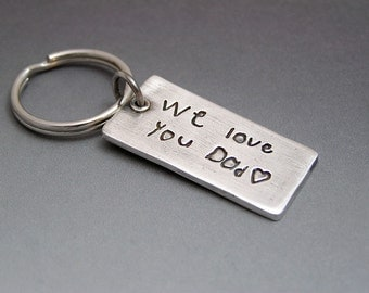 Double sided Custom Keychain - Your Child's or Loved One's Signature Made into a Keychain