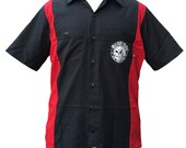 Lovecraft Miskatonic Cocktail Club red and black Dickies button front work shirt sizes S-4XL