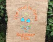 Summer Bikini Burlap Garden Pool Flag Banner for New Home or Wedding Gift Idea for Outdoor Decor Use