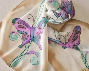 Hand Painted Silk Scarf - Handpainted Scarves Butterflies Butterfly Tan Beige Cream Ecru Khaki Teal Blue Green Purple Pink Gray Grey Black
