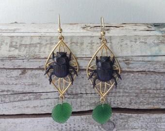 Filigree Bug and Leaf Drop Earrings