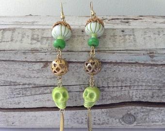 Large Lime Green Skull Gothic Earrings