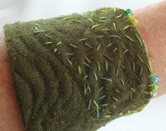 Fabric Cuff Bracelet, Quilted Silk Cuff