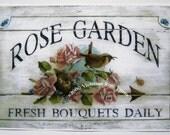 Rose Garden Wren Bird Nest Roses Bouquet Print Rose Half Yard Long