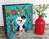 Encaustic Folk Art Cat Small Painting Under 100.00