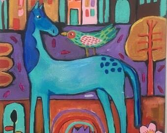 Small Folk Art Horse Painting