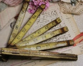 Salvaged Wooden Folding Stanley RULER- Yellow Measuring Stick- Rusted Metal-Vintage Measure- Distressed- Slide Rulers