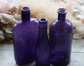 Purple BOTTLE LOT- Large Amethyst Shaded Instant Collection- Dark Purple Bottles- Rustic Decor