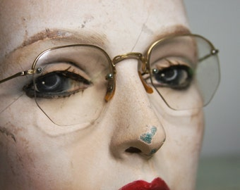 Octagon Shaped EYE GLASSES Vintage Rimless with Wire Temples 12K Gold Filled- With Leather Case