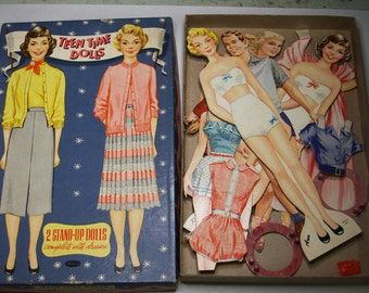 Vintage PAPER DOLLS- Teen Time Dolls- Whitman Publishing Co.- Retro Dress Up Dolls with Stands