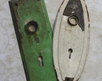 White Chippy Paint- Green- ESCUTCHEON Plates-Old Door Hardware- Salvaged Door Plates