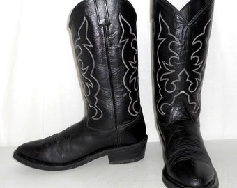 Mens size 9.5 D Cowboy Boots Black Leather Western Biker Old West Womens 11