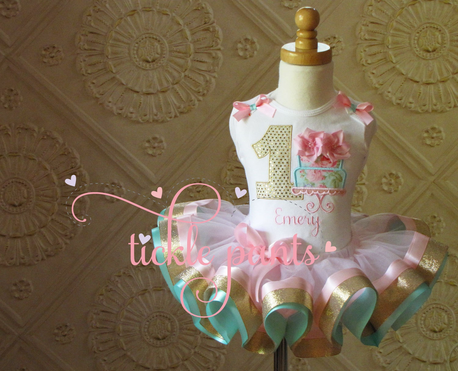 Shabby chic birthday outfit pink aqua and gold sparkle - Shabby chic outfit ideas ...