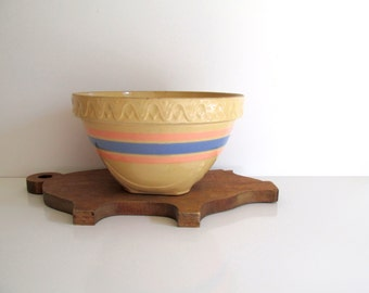 Stoneware Mixing Bowl Vintage Pink Blue By Rollinghillsvintage