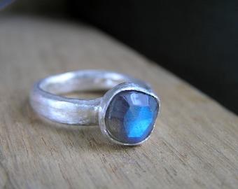 Labradorite gemstone sterling silver ring. Blue labradorite jewelry. Handmade sterling silver ring natural faceted labradorite