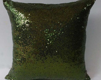 Dark Olive sequin pillow. shiny throw pillow. sparkly action pillow. glitter pillow. 18x18 inches