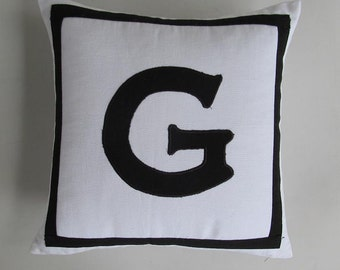 white and black initial pillow. Decorative  monogram pillow.  letter pillow.  persnalize  cushion cover. Custom made 16inch