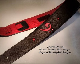 """Black & Red Leather Bass Strap w/Inlaid Red Metallic Bass Clef / Embossed Python Leather Lining / Ergonomic / Padded / Adjustable / 3"""" Wide"""