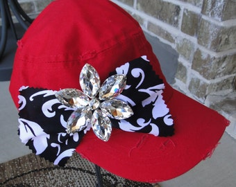 Crystal Flower Pin on Red Cadet Cap - Free Shipping