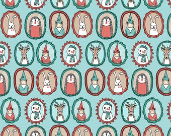 Christmas Fabric - Christmas Portraits // Small Version Deer Snowman By Andrea Lauren- Holiday cotton fabric by the yard with Spoonflower
