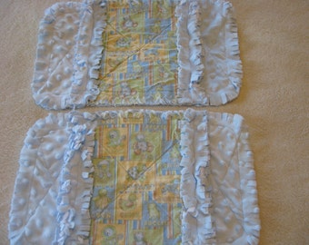 2 New Handmade Nursery Print Bear Horse Lion Duck Baby Boy Burp Cloths with Minky backing
