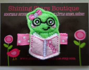 Felt Hair Clips - Lime Green Back To School Nerdy Or Geeky Bookworm With Glasses And Pink Reading Book Embroidered Felt Hair Clip