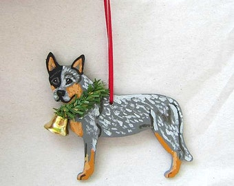 Hand-Painted AUSTRALIAN CATTLEDOG BLUE Heeler Wood Christmas Ornament...choose with or without eyepatch