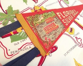 Vintage Florida Silver Springs felt pennant banner glass bottom boats 1940s souvenir Floridiana kitsch