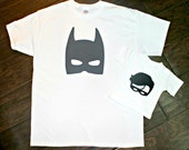 Batman and Robin Matching Dad and Son Shirts - New Baby,  Father and Son Set, Father's Day, Sidekick, Birthday, Superhero Tshirt set