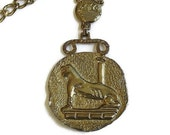 Vintage Large Egyptian Cat Pendant Necklace Cleopatra Style in Bronze look Metal
