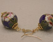Vintage Chinese Cloisonne Bead DARK BLUE Dangle Drop Earrings Pink White Flowers, Gold French Ear Wires
