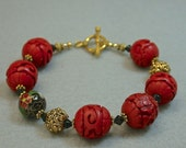 Vintage Cinnabar Bead Chinese Red Bracelet, Vintage Chinese Black Cloisonne Beads,Vintage Black Crystal Beads, Gold Toggle Clasp