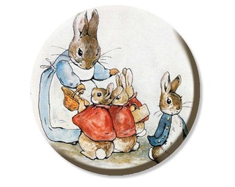 "Peter Rabbit and Mom Pocket Mirror, Magnet or Pinback Button - Wedding Favors, Party themes - 2.25""- MR480"