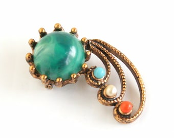Modernist Open Brooch Vintage Marbled Green Turquoise Pearl Coral Beads Pin Antiqued Goldtone
