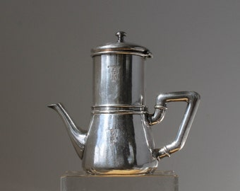 Hotel Silver Tea Pot, Cintra Hotel Chain, Two-piece Silver Tea Strainer, Soldered Silver Pot