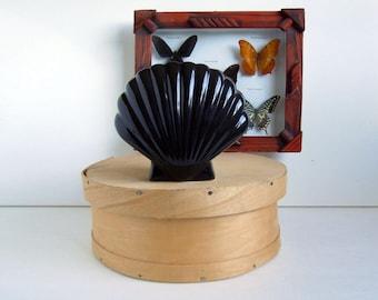 Vintage Black Shell Vase | Retro Ceramic Planter | Home Decor