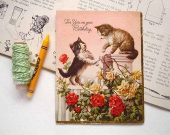 Vintage Silver Foil Kittens Cat Playing on a Garden Fence Greeting Card