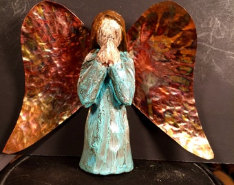 Angel hand carved antiqued