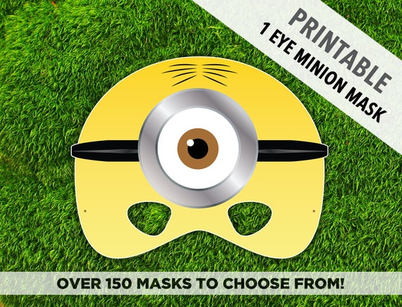 Printable minion mask one eye minion cartoon character mask