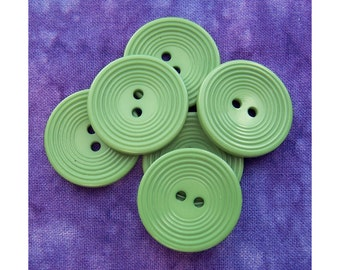 Green Vintage Sewing Buttons 22mm - 7/8 inch Green Buttons with Carved Ring-Around Design - 6 VTG NOS Matte Green Plastic Buttons PL479