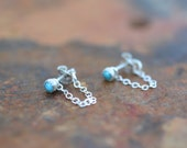 turquoise earring jackets, studs, tiny, sterling silver, chain, drop // APOLLO STUDS