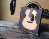 Free!! initials stamp Hand Stitch Men Wallet Acoustic guitar Vintage Colored light Wood