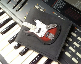 Limited Edition Men Wallet Fender Bass Guitar & Sunburst Color leather