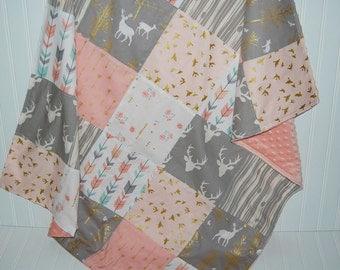 baby blanket- woodland baby blanket-patchwork minky baby blanket- arrow baby blanket- pink baby blanket- baby girl blanket- baby bedding