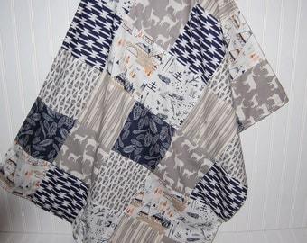 baby blanket- woodland baby blanket-patchwork minky baby blanket- arrow baby blanket- gray and navy baby blanket