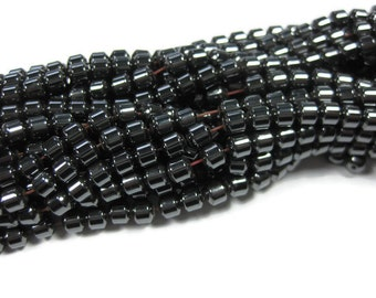 5 mm Smooth Barrel Magnetic Hematite Beads 50 Pieces